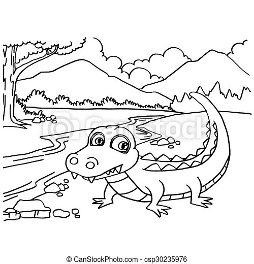 Crocodile coloring pages vector - csp30235976