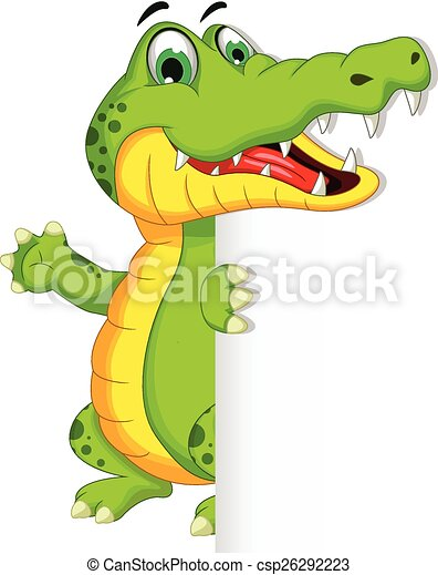 crocodile holding blank sign - csp26292223