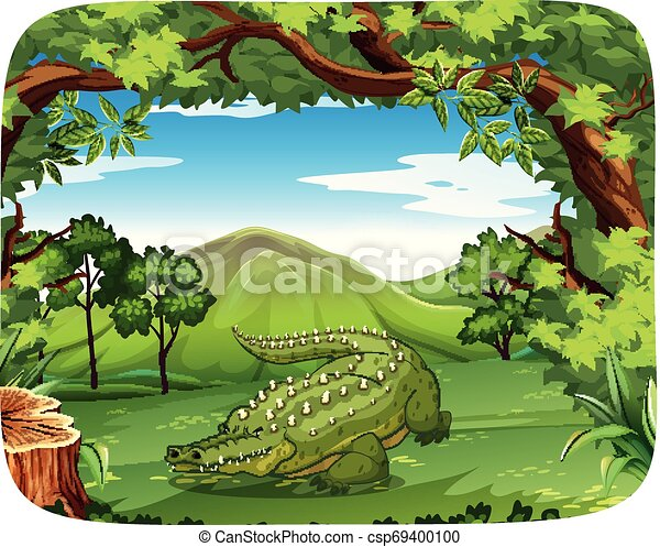 Crocodile in nature scene - csp69400100
