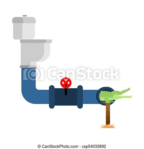 Crocodile in sewer. Alligator in sewerage pipe. Predator animal. City legend. Toilet and Water Supply and Sewerage System. Vector illustration - csp54033892