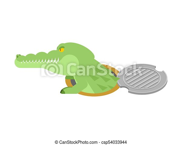 Crocodile in sewer hatch. Alligator in manhole cover. Predator animal in well hatch. City legend. Vector illustration - csp54033944