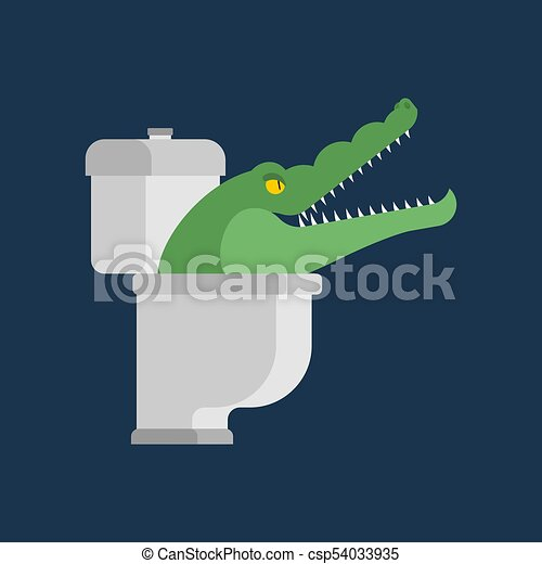 Crocodile in toilet. Alligator in sewer. Predator animal. City legend. Vector illustration - csp54033935