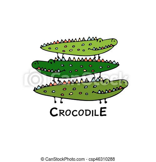 crocodiles, croquis, famille, conception, ton - csp46310288