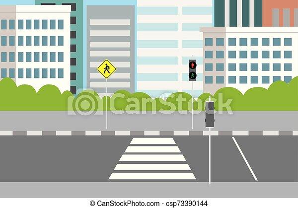 croisement, rue vide, feux circulation, ville, piéton - csp73390144