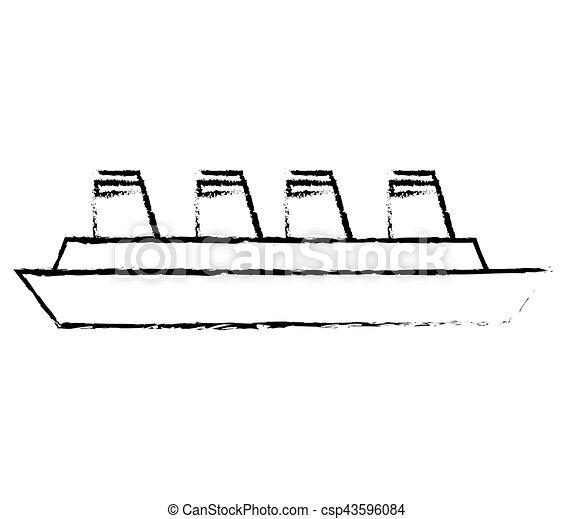 croisière bateau, croquis, maritime, voyage - csp43596084