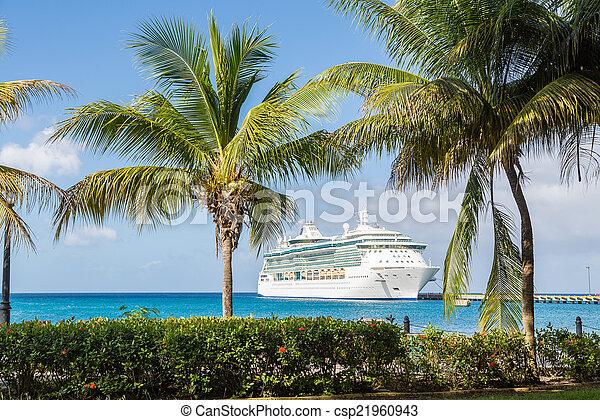 croisière bateau, palmiers, entre - csp21960943