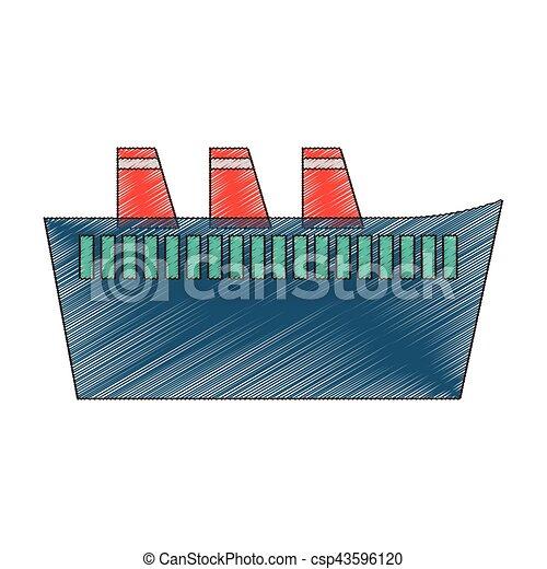 croisière bateau, voyage, maritime, dessin - csp43596120