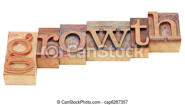 croissance, type, letterpress - csp6287357
