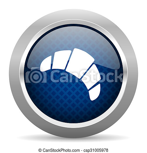 croissant blue circle glossy web icon on white background, round button for internet and mobile app - csp31005978