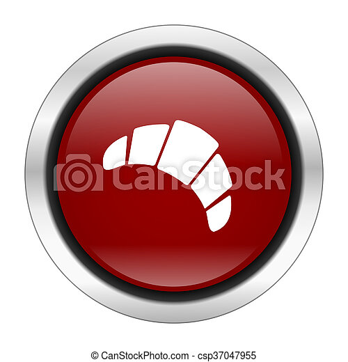 croissant icon, red round button isolated on white background, web design illustration - csp37047955