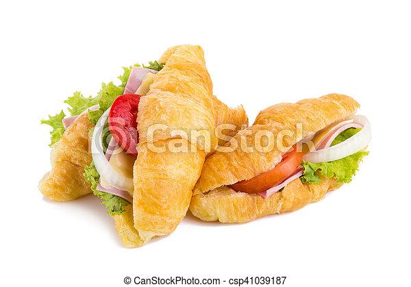 croissant sandwich ham on white background - csp41039187
