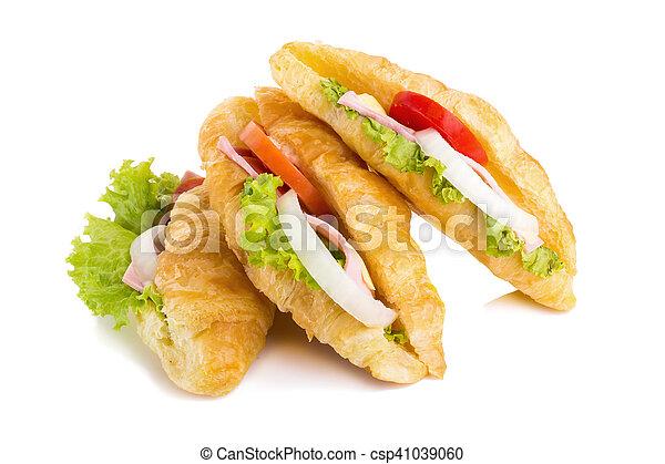 croissant sandwich ham on white background - csp41039060
