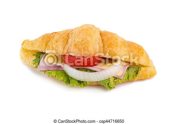 croissant sandwich ham on white background - csp44716650