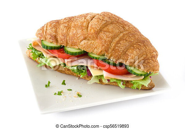 Croissant sandwich with cheese, ham and vegetables. Isolated on white background - csp56519893