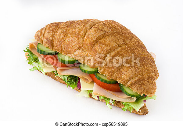 Croissant sandwich with cheese, ham and vegetables. Isolated on white background - csp56519895