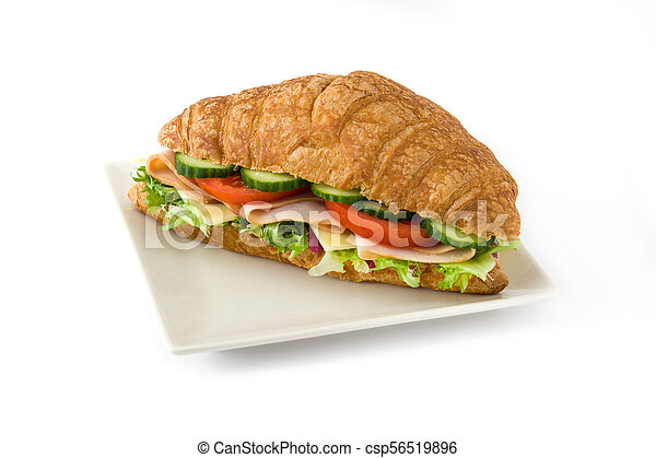 Croissant sandwich with cheese, ham and vegetables. Isolated on white background - csp56519896