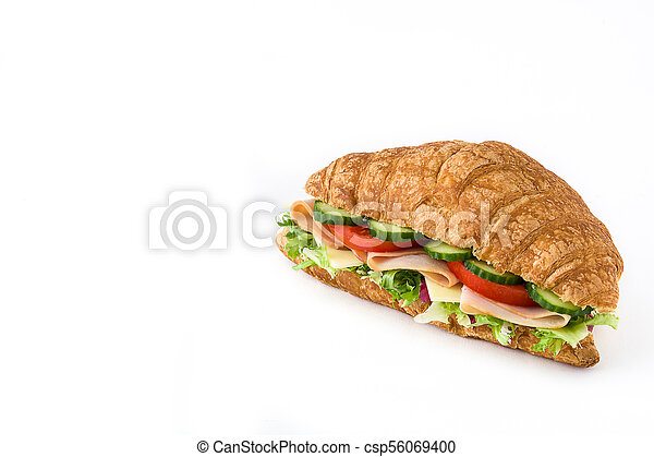 Croissant sandwich with cheese, ham and vegetables. Isolated on white background - csp56069400