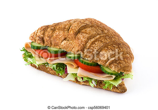 Croissant sandwich with cheese, ham and vegetables. Isolated on white background - csp56069401