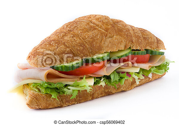 Croissant sandwich with cheese, ham and vegetables. Isolated on white background - csp56069402