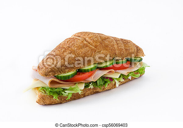 Croissant sandwich with cheese, ham and vegetables. Isolated on white background - csp56069403