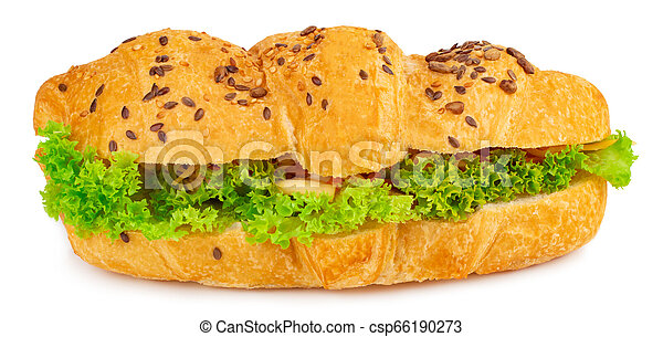 croissant sandwich with cheese isolated on white background - csp66190273
