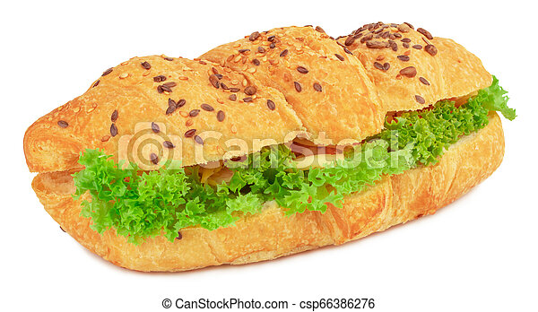 croissant sandwich with cheese isolated on white background - csp66386276