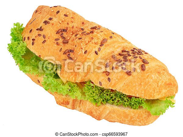 croissant sandwich with cheese isolated on white background - csp66593967