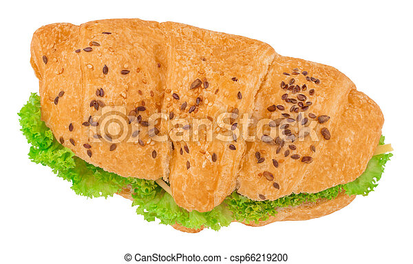 croissant sandwich with cheese isolated on white background - csp66219200