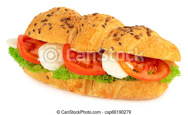 croissant sandwich with mozzarella and tomato isolated on white background - csp66190279