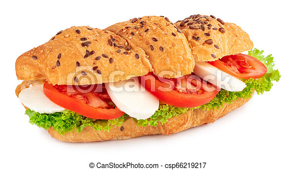 croissant sandwich with mozzarella and tomato isolated on white background - csp66219217