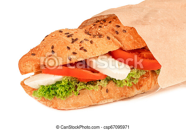 croissant sandwich with mozzarella and tomato isolated on white background - csp67095971
