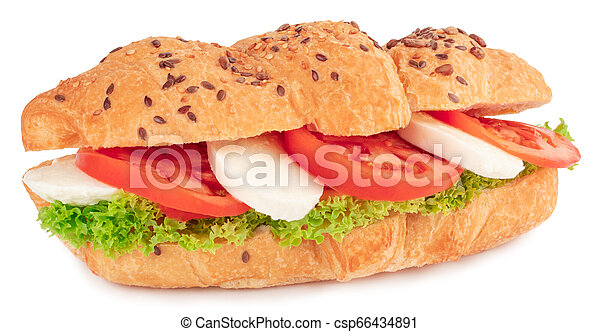 croissant sandwich with mozzarella and tomato isolated on white background - csp66434891