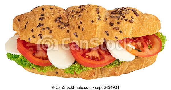 croissant sandwich with mozzarella and tomato isolated on white background - csp66434904