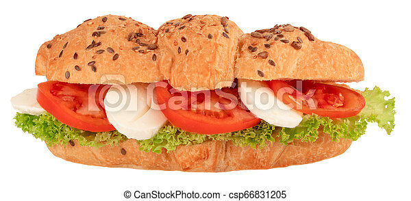 croissant sandwich with mozzarella and tomato isolated on white background - csp66831205