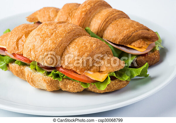 croissant sandwiches isolated on white background - csp30068799