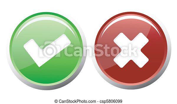 croix, chèque, icônes - csp5806099
