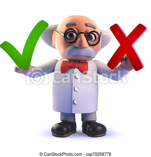 croix, tique, tenue, scientifique, caractère, dessin animé, fou, 3d - csp70259778