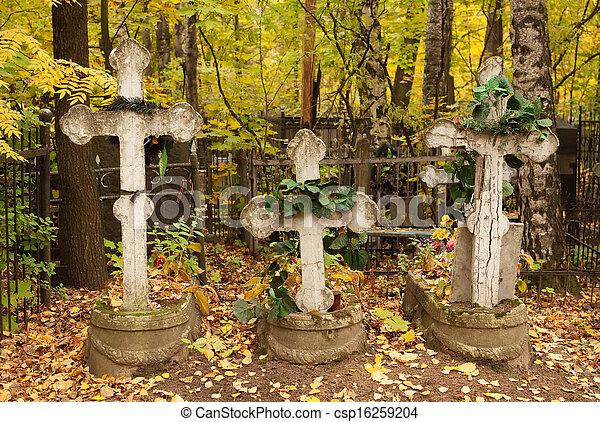 croix, tombes, cimetière, trois, couronnes, rachitique - csp16259204