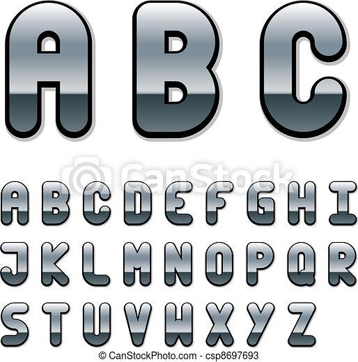 cromo, alfabeto, vetorial, fonte - csp8697693