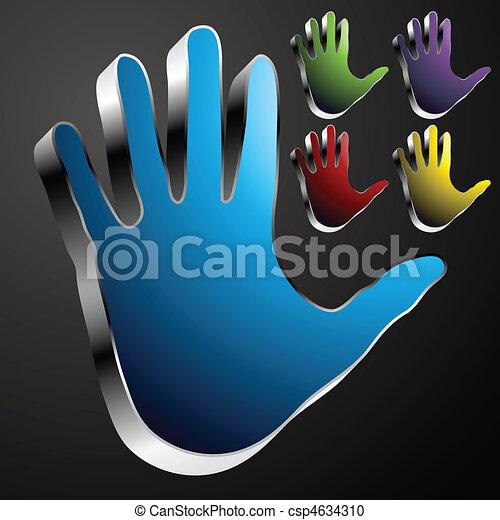 cromo, botão, mão - csp4634310
