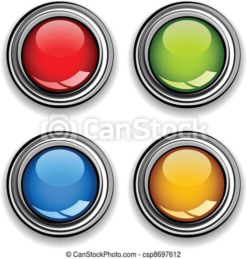 cromo, botões, vetorial, lustroso, em branco - csp8697612