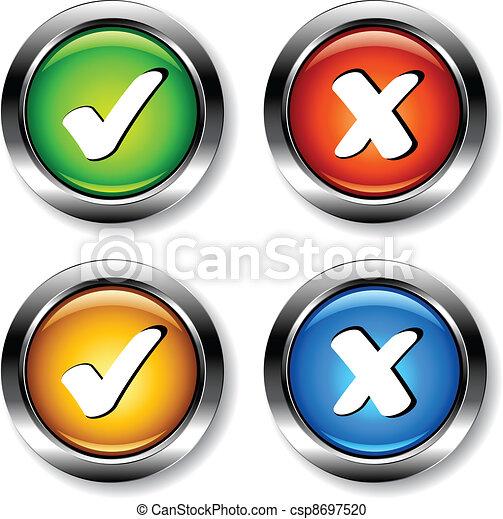 cromo, checkmarks, vetorial, botões - csp8697520