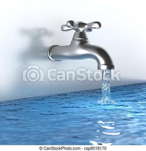 Un grifo de cromo con agua - csp8018170