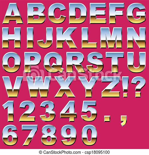 cromo, letras, números - csp18095100
