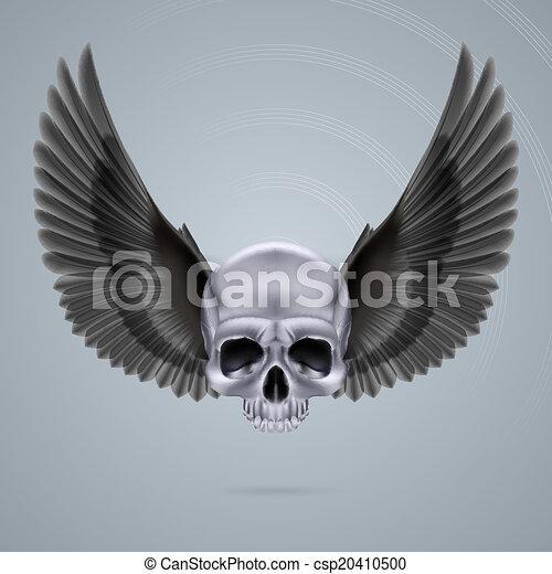 cromo, metal, dois, cranio, asas - csp20410500