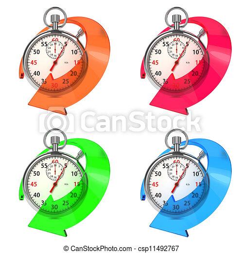 Detén el reloj con flecha de colores. Ponte blanco. - csp11492767