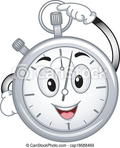 cronometro, analogico, mascotte - csp18688469