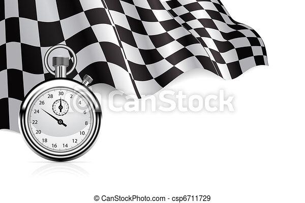 cronometro, bandiera, checkered, fondo - csp6711729