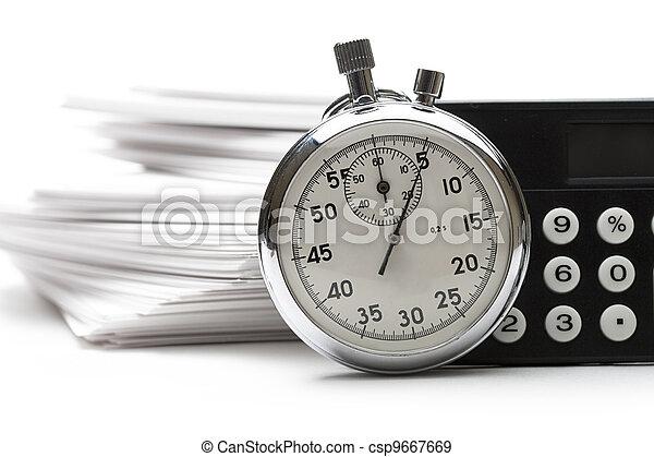 cronometro, calcolatore, carta, mucchio, cartelle - csp9667669