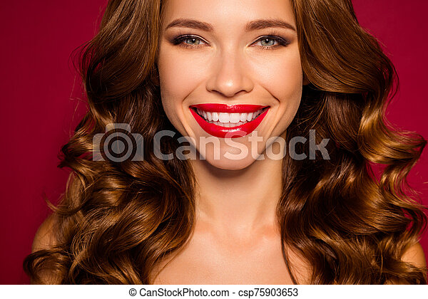 Cropped close-up portrait of her she nice attractive fascinating stunning cheerful wavy-haired girl beaming smile isolated on bright vivid shine vibrant red maroon burgundy marsala color background - csp75903653